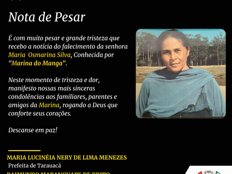 Nota de Pesar: Maria Osmarina Silva