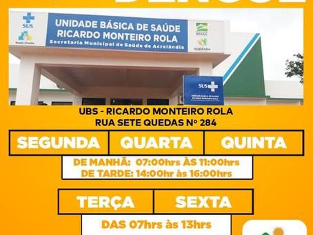 Testes rápido de dengue podem ser realizados em Acrelândia na UBS Ricardo Monteiro Rola