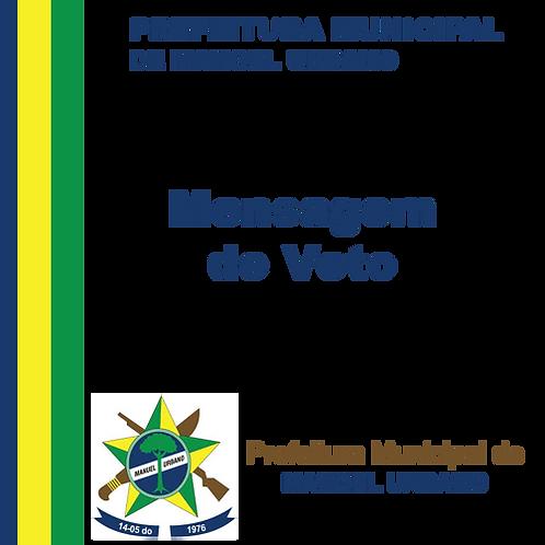 Mensagem de Veto N° 001/2020 - Sinalização das vias públicas municipais