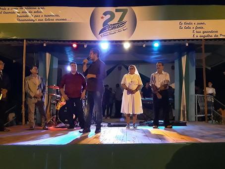 Iniciam as comemorações do 27 aniversário com esporte e noite religiosa