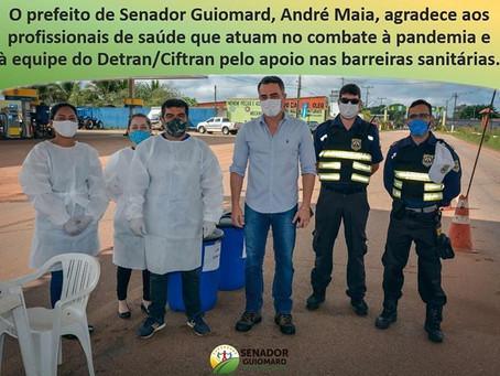 Prefeito André Maia visita a barreira sanitária e agradece aos profissionais pelo excelente trabalho
