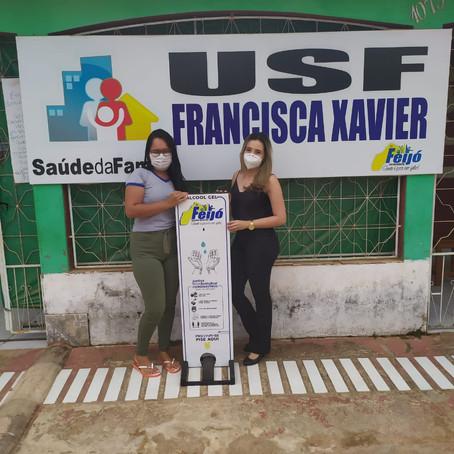 Prefeitura de Feijó instala equipamento para higienização das mãos na USF Francisca Xavier