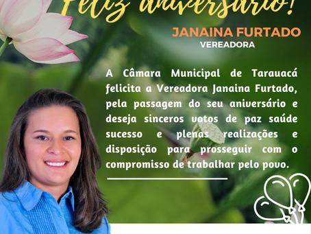 Câmara de vereadores de Tarauacá felicita a vereadora Janaína Furtado