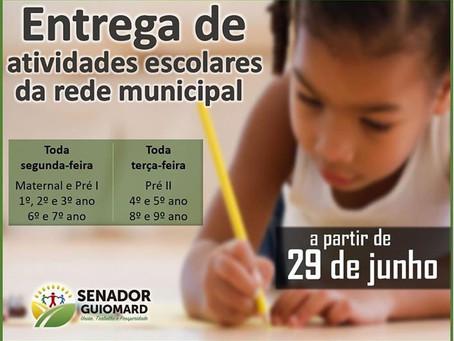 Prefeitura de Senador Guiomard anuncia entrega de atividades escolares da rede municipal