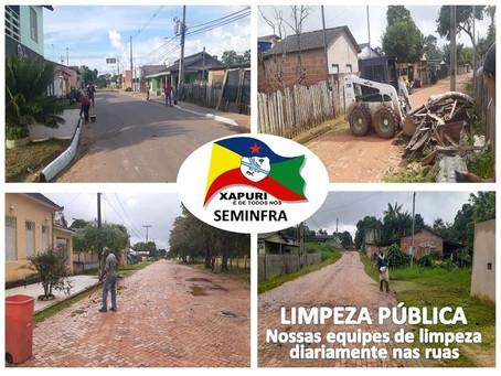 Prefeitura continua cuidando da limpeza do município e proporcionando bem estar