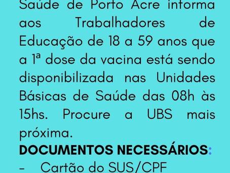 Comunicado: Vacina da covid-19 para trabalhadores da Educação de 18 a 59 anos disponível nas UBS