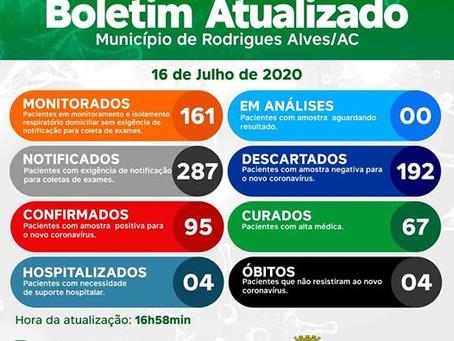 Boletim Covid-19 atualizado, 16 de julho de 2020