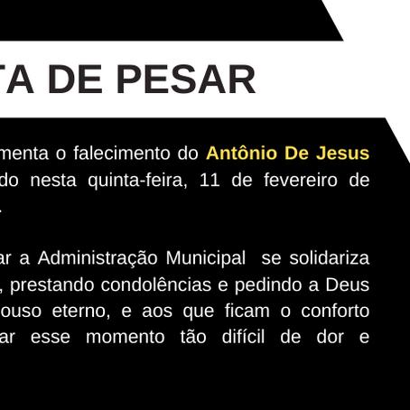 Nota de Pesar: Antônio De Jesus Da Silva Freire