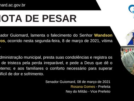 Nota de pesar: Falecimento de Wandson Cavalcante de Barros