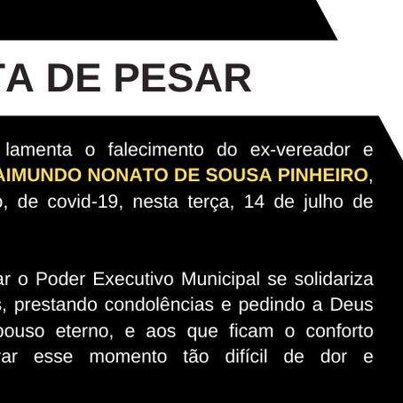 Nota de pesar: Falecimento do empresário  e ex-vereador Raimundo Nonato de Sousa Pinheiro