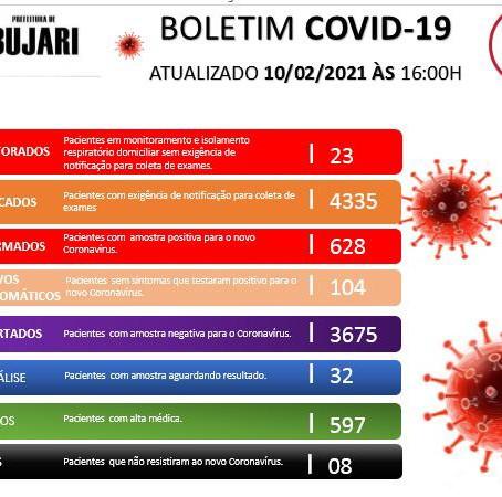 Boletim covid-19, atualizado em 10 de fevereiro de 2021