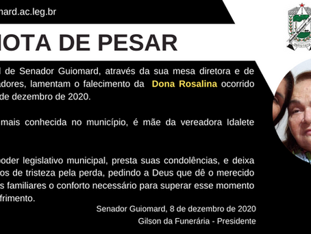 Nota de pesar pelo falecimento de Dona Rosalina, mãe da vereadora Idalete Holanda