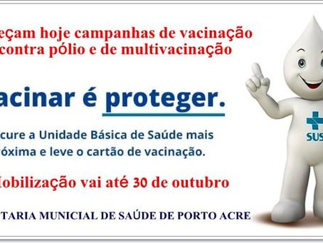 Campanha de Vacinação contra a Poliomielite e Multivacinação começa em Porto Acre
