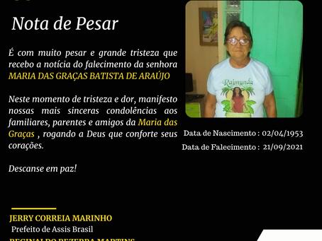 Notar de Pesar : Maria das Graças Batista de Araújo