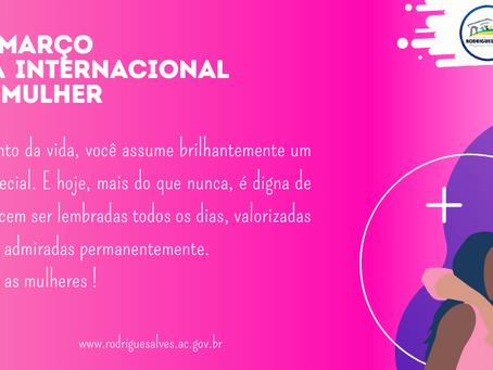 Prefeitura felicita as mulheres nesta data especial, feliz 8 de março!