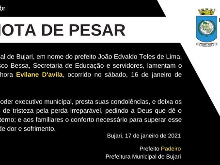Nota de pesar: falecimento da senhora Evilane D'ávila em 16 de janeiro de 2021