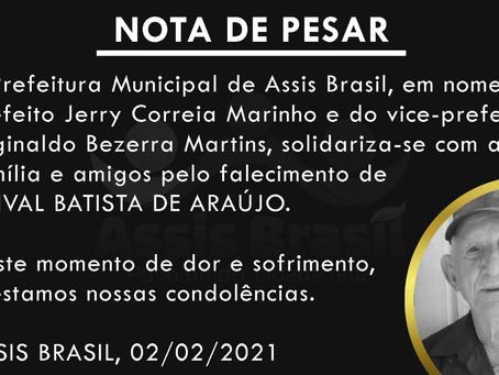 Nota de pesar: Sinval Batista de Araújo