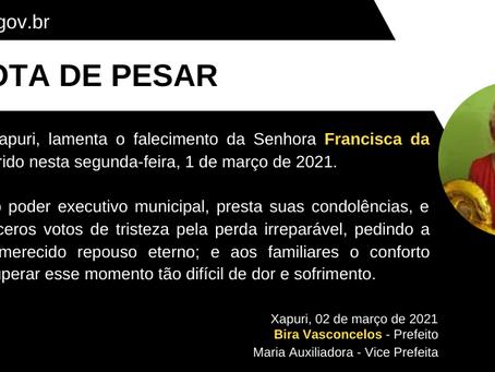 Nota de Pesar: Francisca da Silva Nunes