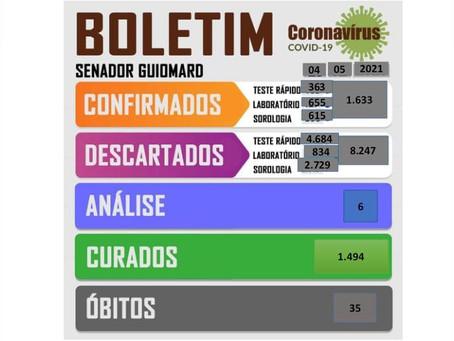 Boletim Covid-19, atualizado em 04 de maio de 2021