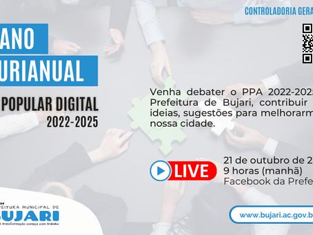 Convite: Prefeitura de Bujari convida população para participar do debate sobre o PPA 2022-2025