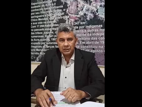 Prefeito Bira anuncia novas medidas de prevenção a covid-19 em Xapuri