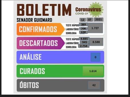 Boletim Covid-19, atualizado em 12 de julho de 2021