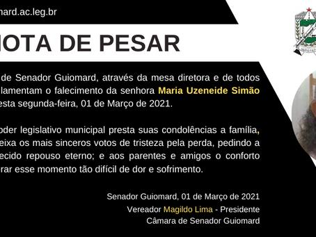 Nota de Pesar:  Maria Uzeneide Simão Amâncio