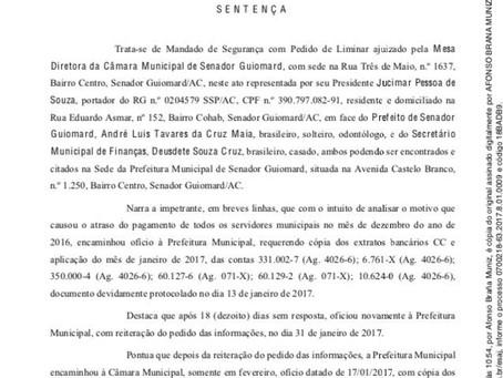 Juiz da Fazenda Pública concede segurança em pedido dos extratos bancários de janeiro de 2017