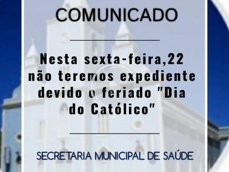 Comunicado: não haverá expediente na sexta, 22 de janeiro de 2021