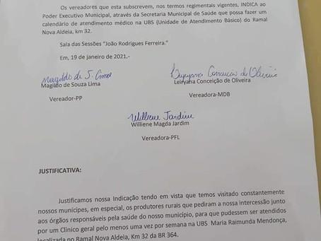 Vereadores indicam a prefeitura atendimento na UBS do Ramal Nova Aldeia km 32, e são atendidos