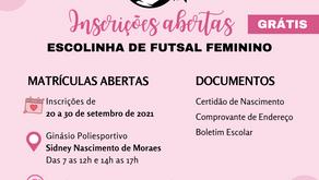 Prefeitura abre inscrições para Escolinhas de Futsal Feminino