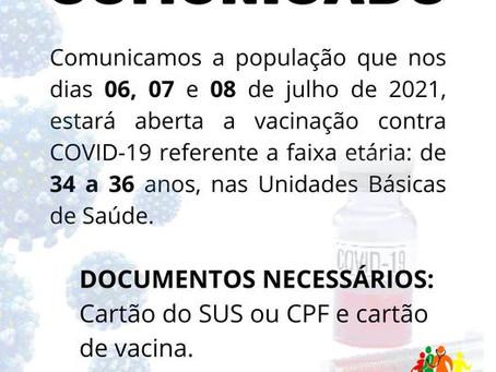 Vacinação para pessoas de 34 a 36 anos