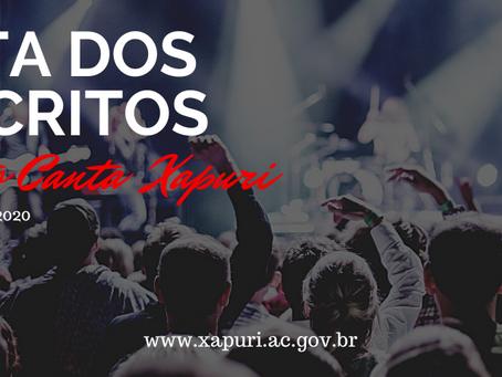 Prefeitura divulga lista dos inscritos no Projeto Canta Xapuri