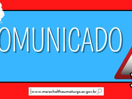 Prefeitura de Marechal Thaumaturgo suspende atendimento ao público