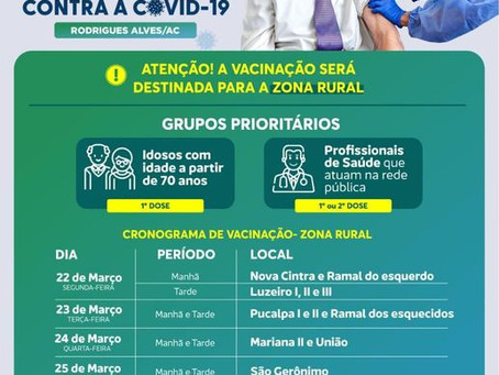 VACINAÇÃO: Prefeitura dá início a vacinação nas comunidades rurais, venha se vacinar, participe!