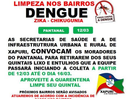 Alô comunidade do bairro Pantanal, a partir de 12 de março a Seinfra coletará lixo e entulho