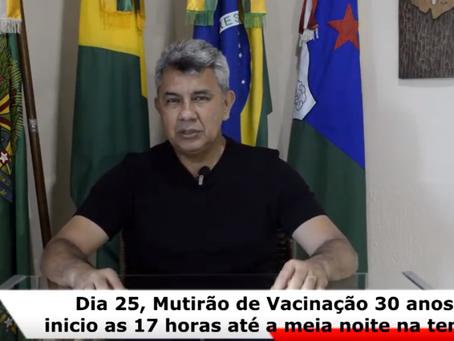 Xapuri realiza mutirão de vacinação na Praça São Gabriel para pessoas com 30 anos ou mais