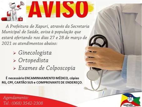 Saúde: Dias 27 e 28 de março, atendimento com ginecologista, ortopedista e exames de colposcopia