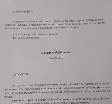 Vereadora Reginalda reivindica da Prefeitura reparo no ramal Água Mineral