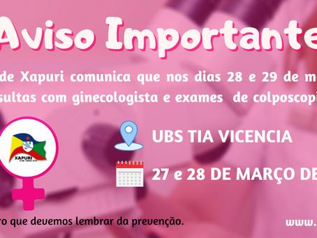 Fique atenta: Prefeitura oferta consultas e exames para as mulheres no dia 27 e 28 de março