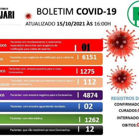 Boletim Covid-19, atualizado em 15 de outubro de 2021