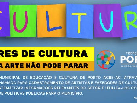 Prefeitura de Porto Acre convoca fazedores de cultura para cadastro online