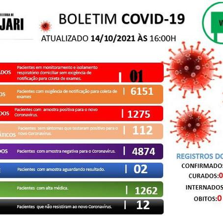 Boletim Covid-19, atualizado em 14 de outubro de 2021
