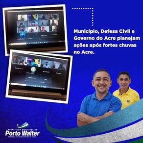 Porto Walter, Defesa Civil e Governo do Estado planejam ações após fortes chuvas no Acre