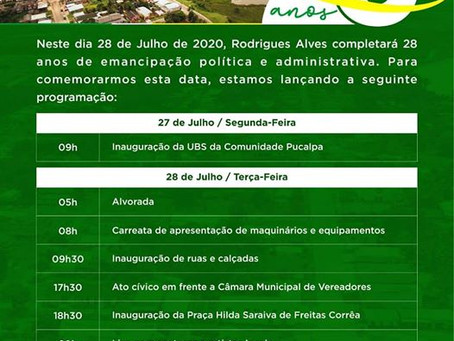 Programação dos 28 anos de emancipação política da cidade de Rodrigues Alves