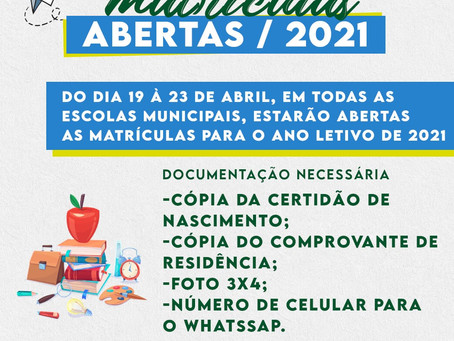 Matriculas abertas/2021