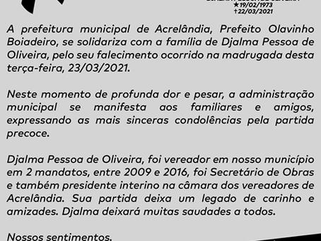 Nota de pesar: Falecimento do ex-vereador Djalma Pessoa de Oliveira