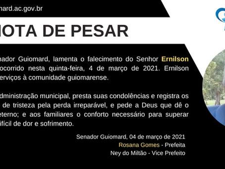Nota de Pesar: Ernilson Nunes da Costa