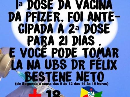 Atenção: 2ª dose da vacina da Pfizer antecipada, procure a UBS Dr Félix Bestene Neto