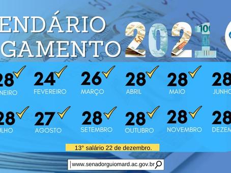 Prefeitura de Senador Guiomard divulga calendário de pagamento do servidor municipal de 2021